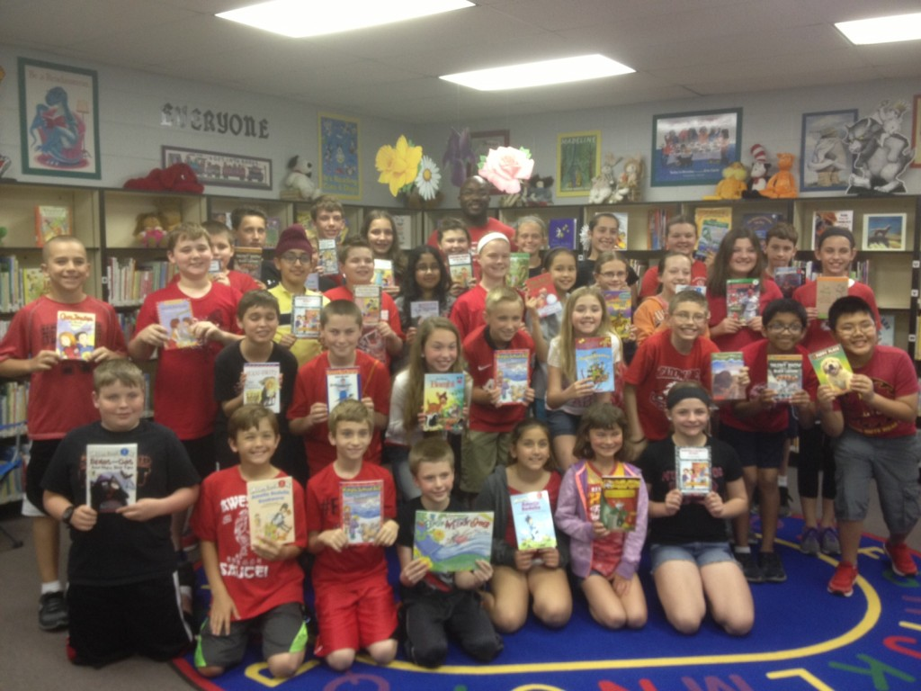Meadow Lane-2015-5th graders with books (1)